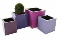 Large GRP cube shaped planter